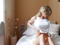 cute juvenile blond masturbates in bedroom
