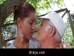 large rod oldman copulates his much younger hot
