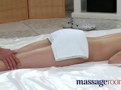 massage rooms shy youthful gal enjoys spunk pie