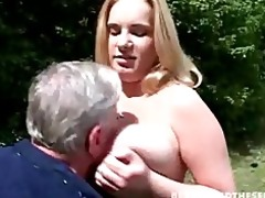 large titted blond copulates old guy in the park