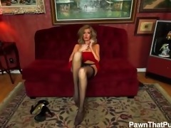golden-haired in seduction nylons cookie play