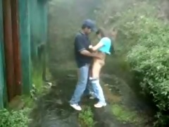 youthful pair having joy outdoor