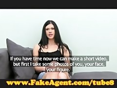fakeagent st time facial for cute young brunette
