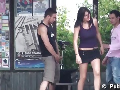 extraordinary public trio with youthful breasty