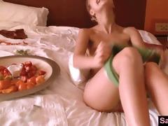 sasha blond acquires massage whilst eating fruit