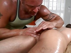 massaging youthful hard jock
