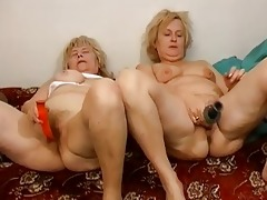 old grannies masturbate jointly on the bed