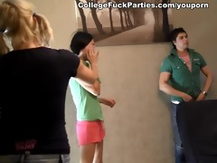 4 youthful oriental hotties drilled at a party