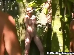 old fellows fuck hotty in a forest