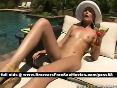 youthful brunette hair cutie at the pool receives