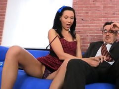 tricky teacher seducing stylish student