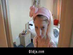 lustful hotel maid copulates an oldman customer
