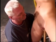 blonde slut receive fucked by an old man