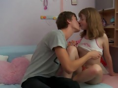 young legal age teenager sister groans riding a