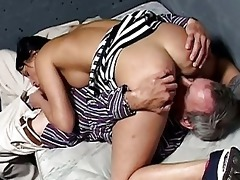 cute brunette hair prisoner got nailed by old chap