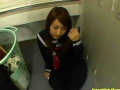 schoolgirl giving blojwob on her knees cum to