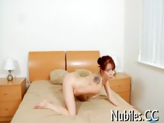 chick plays with chubby cock