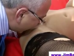 honey in nylons licked by old fellow