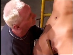 golden-haired wench get drilled by an old stud