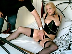 british blond sub doxy handcuffed up and used