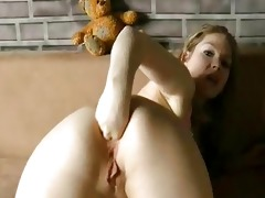 youthful dilettante doxy fisting her butt and