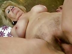 breasty old slut getting her unshaved cum-hole