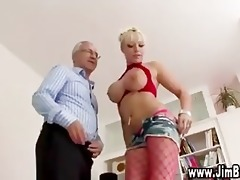 breasty blonde in stockings acquires off