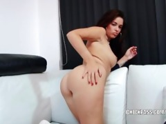 dark brown sweetheart ava dalush makes her moist