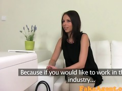 fakeagent shy brunette receives muff pounded in