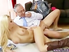 diminutive blond bitch receives a spunk flow