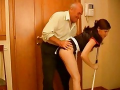 seductive brunette hair maid receives rammed by