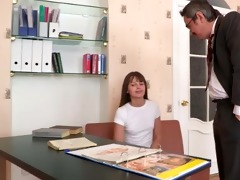 tricky old teacher enjoys a bald twat of his