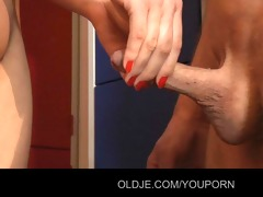 youthful blameless hotty have sex with old jock