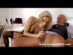 youthful british floozy gives aged guy blowjob