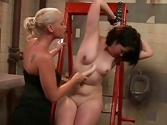 chic goddess playing with youthful sex serf