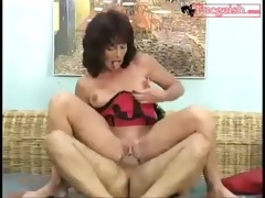 old school abode wife rides up and down on a cock