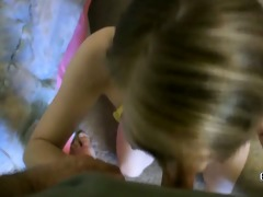 excited college girl soleil marks is blowing an