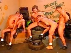 in a old garage five bikers fuck