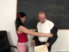 concupiscent schoolgirl copulates and sucks her