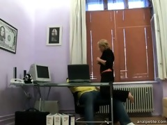 a juvenile cutie walks into the office of her