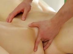 juvenile masseur is working hard to fun angel