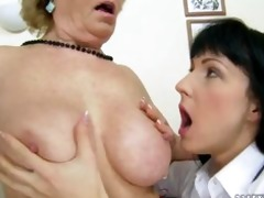 tattoo hottie plays with aged woman