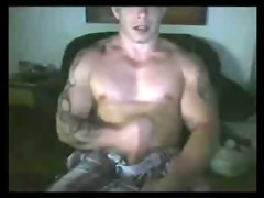 sexy tatted buff uk chap jerking and shooting his