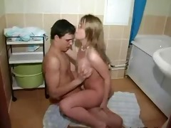 youthful pair having sex in bath