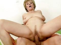 breasty grandma enjoys sex with youthful fellow