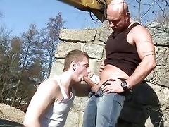 large dad bonks lad in the a-hole outdoor public