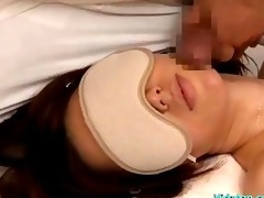 blindfolded breasty hotty oil on body getting her