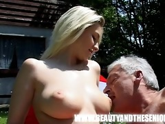 youthful breasty beauty screwed by an old obese