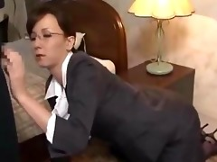 secretary on her knees giving blowjob getting her
